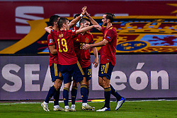 SEVILLE, SPAIN - Tuesday, November 17, 2020: Team of Spain celebrating a goal during the UEFA Nations League match between Spain and Germany at Estadio La Cartuja de Sevilla on november 17, 2020 in Seville, Spain (Photo by Jeroen Meuwsen/Orange Pictures)
