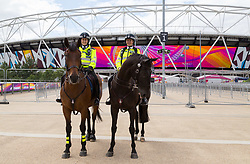 London, 2017-August-04. Mounted police officers are present to reassure the public at the IAAF World Championships London 2017. Paul Davey.