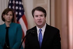 U.S. Supreme Court Justice Brett Kavanaugh speaks at his ceremonial swearing in as his wife Ashley looks on in the East Room of the White House October 08, 2018 in Washington, DC.Photo by Olivier Douliery/ Abaca Press