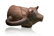 Hittite terra cotta ceremonial libation rhython in the shape of a boar. Hittite Old Period, 1650 - 1450 BC.  Hattusa Boğazkale. Çorum Archaeological Museum, Corum, Turkey .<br />  <br /> If you prefer to buy from our ALAMY STOCK LIBRARY page at https://www.alamy.com/portfolio/paul-williams-funkystock/hittite-art-antiquities.html  - Hattusa into the LOWER SEARCH WITHIN GALLERY box. Refine search by adding background colour, place,etc<br /> <br /> Visit our HITTITE PHOTO COLLECTIONS for more photos to download or buy as wall art prints https://funkystock.photoshelter.com/gallery-collection/The-Hittites-Art-Artefacts-Antiquities-Historic-Sites-Pictures-Images-of/C0000NUBSMhSc3Oo