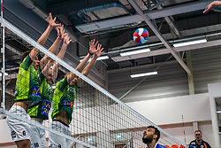 Markus Held #6 of Orion, Jasper Diefenbach #16 of Orion, Adam White #9 of Orion in action during the supercup final between Amysoft Lycurgus - Active Living Orion on October 04, 2020 in Van der Knaaphal, Ede