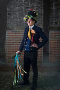 Hanna, member of the Börd Heeßler Danzers,  is wearing a traditional wedding costume in Börde Heeslingen, Germany on May 6, 2018<br /> <br /> Groom: Dennis