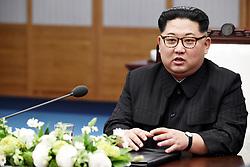 April 27, 2018 - Paju, South Korea - South Korean President and North Korean leader KIM JONG-UN during their inter-Korean summit at the Panmunjom in the demilitarized zone (DMZ) separating the two Koreas in Paju, north of Seoul, South Korea. (Credit Image: © Inter-Korean Press Corps via ZUMA Wire)