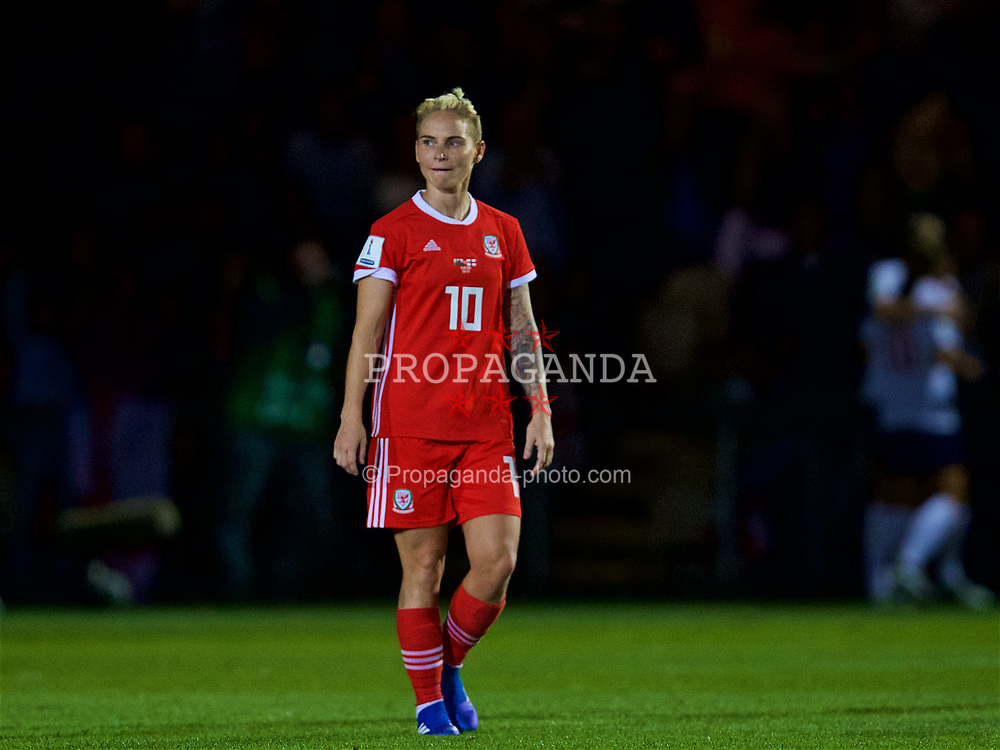 NEWPORT, WALES - Friday, August 31, 2018: Wales' Jessica Fishlock looks dejected after England scoring third goal during the FIFA Women's World Cup 2019 Qualifying Round Group 1 match between Wales and England at Rodney Parade. (Pic by David Rawcliffe/Propaganda)