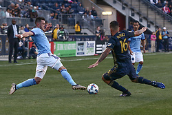 April 14, 2017 - Chester, PA, United States of America - New York City FC Midfielder JACK HARRISON (11) goes for the ball in the first half of a Major League Soccer match between the Philadelphia Union and New York City FC Friday, Apr. 17, 2016 at Talen Energy Stadium in Chester, PA. (Credit Image: © Saquan Stimpson via ZUMA Wire)