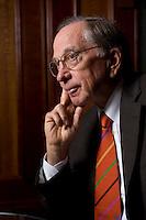 """2008, BERLIN/GERMANY:<br /> Samuel Augustus """"Sam"""" Nunn, US-amerikanischer Geschäftsmann und Politiker der Demokraten, ehem. Senator im US-Senat, waehrend einem Interview, Hotel Adlon<br /> IMAGE: 20080612-01-019"""