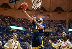 Feb 9, 2019; Morgantown, WV, USA; West Virginia Mountaineers forward Esa Ahmad (23) shoots during the second half against the Texas Longhorns at WVU Coliseum. Mandatory Credit: Ben Queen-USA TODAY Sports