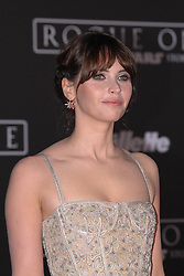 Celebrity arrivals at the world premiere of Walt Disney Pictures and Lucasfilm's 'Rogue One: A Star Wars Story' at the Pantages Theatre in Hollywood, California. 11 Dec 2016 Pictured: Felicity Jones. Photo credit: @parisamichelle / MEGA TheMegaAgency.com +1 888 505 6342