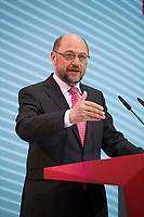 DEU, Deutschland, Germany, Berlin, 30.01.2017: SPD-Kanzlerkandidat Martin Schulz bei einer Pressekonferenz im Willy-Brandt-Haus nach der Klausurtagung des SPD-Bundesvorstands.