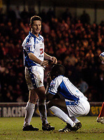 Photo: Jed Wee.<br /> Middlesbrough v Nuneaton Borough. The FA Cup. 17/01/2006.<br /> <br /> Nuneaton captain Neil Moore (L) tries to console Terry Angus after they concede a penalty.
