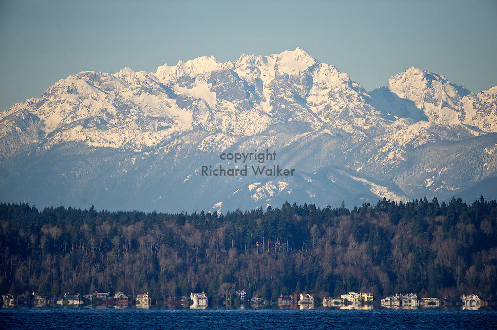2011 January 01 - The Olympic mountains as seen in winter from Alki Beach, West Seattle, WA. CREDIT: Richard Walker