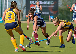 Ansone Lombard of HMS Bloemhof(white stripes) and Sonika van Heerden of Oranje MS during day two of the FNB Private Wealth Super 12 Hockey Tournament held at Oranje Meisieskool in Bloemfontein, South Africa on the 7th August 2016, <br /> <br /> Photo by:   Frikkie Kapp / Real Time Images