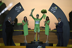 July 28, 2019, Paris, France: Slovakian Peter Sagan of Bora-Hansgrohe pictured on the podium after the final stage of the 106th edition of the Tour de France cycling race, from Rambouillet to Paris Champs-Elysees (128km), France, Sunday 28 July 2019. This year's Tour de France starts in Brussels and takes place from July 6th to July 28th. (Credit Image: © Yorick Jansens/Belga via ZUMA Press)