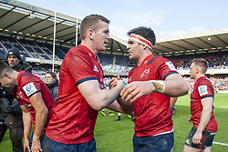 March 30, 2019 - Edinburgh, Scotland, United Kingdom - Chris Farrell and CJ Stander of Munster celebrate during the Heineken Champions Cup Quarter Final match between Edinburgh Rugby and Munster Rugby at Murrayfield Stadium in Edinburgh, Scotland, United Kingdom on March 30, 2019  (Credit Image: © Andrew Surma/NurPhoto via ZUMA Press)
