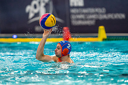 Kjeld Veenhuis of the Netherlands in action against Croatia during the Olympic qualifying tournament. The Dutch water polo players are on the hunt for a starting ticket for the Olympic Games on February 15, 2021 in Rotterdam