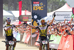Henrique Avancini and Manuel Fumic of team Cannondale Factory Racing XC win stage 1 of the 2017 Absa Cape Epic Mountain Bike stage race held from Hermanus High School in Hermanus, South Africa on the 20th March 2017<br /> <br /> Photo by Greg Beadle/Cape Epic/SPORTZPICS<br /> <br /> PLEASE ENSURE THE APPROPRIATE CREDIT IS GIVEN TO THE PHOTOGRAPHER AND SPORTZPICS ALONG WITH THE ABSA CAPE EPIC<br /> <br /> ace2016