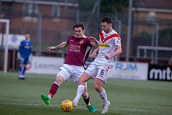 Stenhousemuir's Mark McGuigan and Airdrie's Grant Gallagher. half time : Stenhousemuir 0 v 0 Airdrie, Scottish Football League Division One played 26/1/2019 at Ochilview Park.