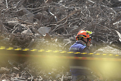 May 5, 2018 - Sao Paulo, Brazil - Firefighters continue their search for five possible victims in the wreckage of the Wilton Paes de Almeida Building, which collapsed after a fire in the early hours of last Tuesday, 1st, in the center of São Paulo. The 24-story building, located in Largo Paiçandu, was occupied by a homeless group. Yesterday, the body of Ricardo Oliveira Galvão Pinheiro, 39, was found and removed from the scene. (Credit Image: © Dario Oliveira via ZUMA Wire)