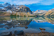 Bow Lake and Crowfoot Mountain  the Canadian Rocky Mountains<br /> Banff National Park<br /> Alberta<br /> Canada