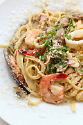 Seafood pasta with shrimps and calamary