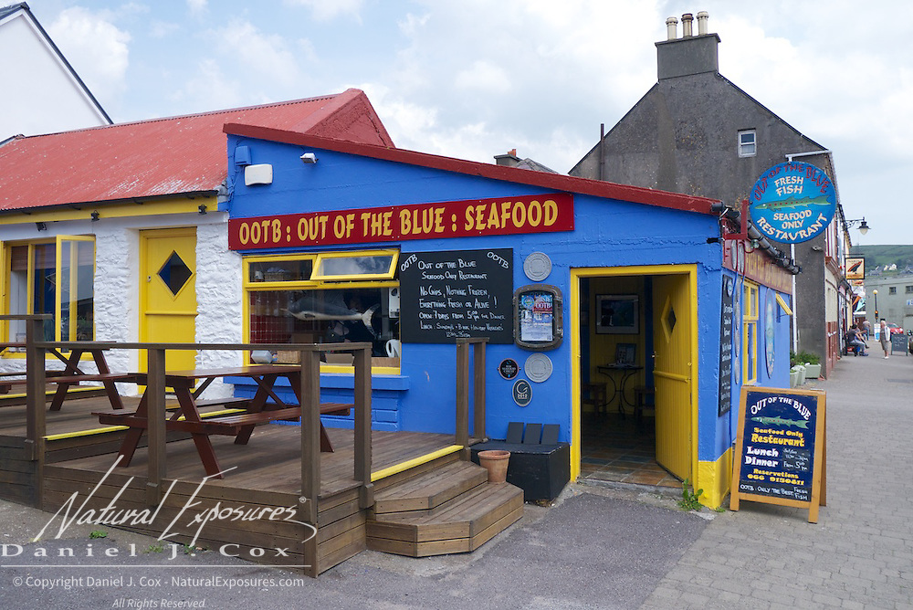 Out of the Blue seafood restaurant on the main street of Dingle, Ireland.