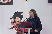 Sofia Fenichell, CEO and Founder of Mrs Wordsmith, giving a seminar about early childhood books during day one of the London Book Fair at Kensington Olympia on the 12th March 2019 in London in the United Kingdom.