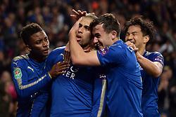 Leicester City's Islam Slimani (second left) celebrates his  goal with Demarai Gray (left), Ben Chilwell (centre) and Shinki Okazaki (right)