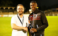 Sullay KaiKai collecting his man of the match award after the Pre-Season Friendly match between Bromley and Crystal Palace at the Courage Stadium, Bromley, United Kingdom on 30 July 2015. Photo by Michael Hulf.