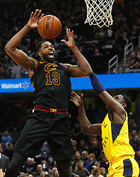 April 29, 2018 - Cleveland, OH, USA - Cleveland Cavaliers center Tristan Thompson is fouled by Indiana Pacers guard Darren Collison in the third quarter of Game 7 of the Eastern Conference First Round series on Sunday, April 29, 2018 at Quicken Loans Arena in Cleveland, Ohio. The Cavs won the game, 105-101. (Credit Image: © Leah Klafczynski/TNS via ZUMA Wire)