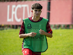 LIVERPOOL, ENGLAND - Wednesday, September 15, 2021: Liverpool's substitute Stefan Bajcetic Maquieira warms-up during the UEFA Youth League Group B Matchday 1 game between Liverpool FC Under19's and AC Milan Under 19's at the Liverpool Academy. Liverpool won 1-0. (Pic by David Rawcliffe/Propaganda)