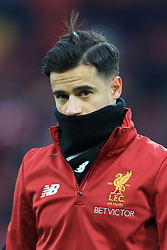 10th December 2017 - Premier League - Liverpool v Everton - Philippe Coutinho of Liverpool wears a snood during the warm-up - Photo: Simon Stacpoole / Offside.