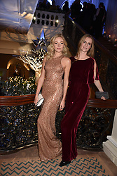Clara Paget and Chloe Delevingne at reception to celebrate the launch of the Claridge's Christmas Tree 2017 at Claridge's Hotel, Brook Street, London England. 28 November 2017.<br /> Photo by Dominic O'Neill/SilverHub 0203 174 1069 sales@silverhubmedia.com