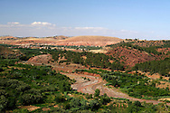 Morocco. Typical moroccan landscape on the Imlil-Marrakesh route.