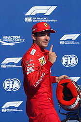 SPA-FRANCORCHAMPS, Aug. 31, 2019  Charles Leclerc of Ferrari pose for photo after the Qualifying of the Formula 1 Belgian Grand Prix at Spa-Francorchamps Circuit, Belgium, Aug. 31, 2019. (Credit Image: © Zheng Huansong/Xinhua via ZUMA Wire)