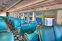 Interior of an old abandoned train wagon.