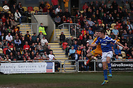 Jed Wallace of Portsmouth scores with a header to make the score 0-2. Skybet football league two match, Newport county v Portsmouth at Rodney Parade in Newport, South Wales on Saturday 29th March 2014.<br /> pic by Mark Hawkins, Andrew Orchard sports photography.