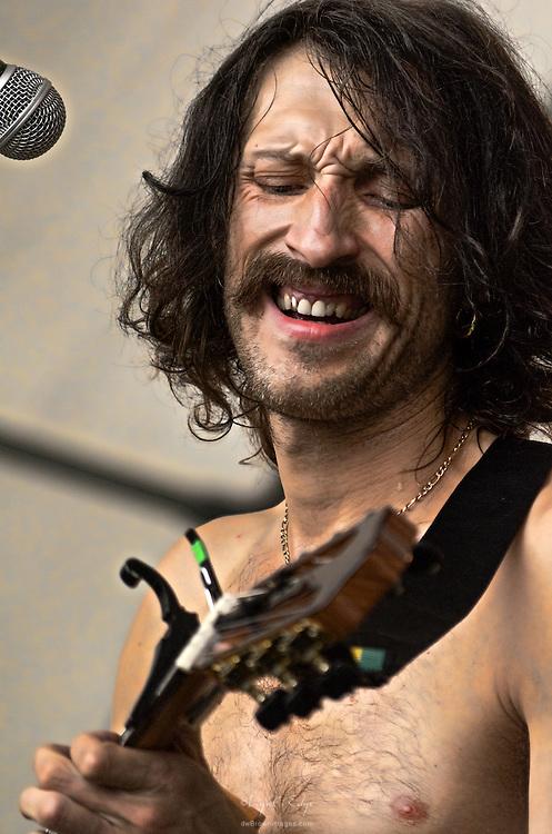 Eugene Hütz of Gogol Bordello on stage at The Appel Farm's 2011 Arts & Music Festival in Elmer, NJ.