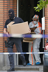 June 21, 2017 - Brussels, BELGIUM - Police search the house of the suspected terrorist in yesterday's explosion that occurred in the Brussels Central train station. The suspected terrorist was shot dead on the scene, according to the first information he is the only victim of the incident.  (Credit Image: © Bruno Fahy/Belga via ZUMA Press)