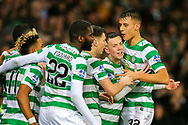 Ryan Christie (#17) of Celtic celebrates Celtic's first goal (1-0) with Filip Benkovic (#32) of Celtic during the Betfred Cup Final between Celtic and Aberdeen at Celtic Park, Glasgow, Scotland on 2 December 2018.