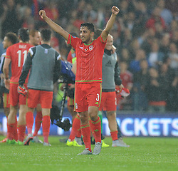 Neil Taylor of Wales (Swansea City) celebrates at full time. - Photo mandatory by-line: Alex James/JMP - Mobile: 07966 386802 - 12/06/2015 - SPORT - Football - Cardiff - Cardiff City Stadium - Wales v Belgium - Euro 2016 qualifier