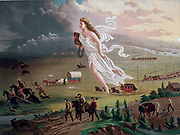 Concept of Manifest Destiny: Allegorical female figure carrying electric  telegraph wire, leads American pioneers and railroads westwards, Native American Indians and buffalo and bear retreating  before them. Chromolithograph c1873.