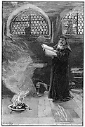 Dr Faustus conjuring up Mephistopheles. Faust formed the subject of dramas by Christopher Marlowe and Goethe. Goethe's version was the basis for Gounod's opera. Legend based on Johann Faust, German wandering conjuror and astrologer c1488-1541.