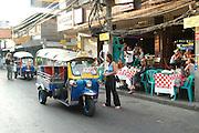 The Kawasan market Bangkok Thailand motorized rickshaw