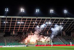 Green Dragons, supporters of Olimpija during 1st Leg football match between NK Olimpija Ljubljana and NK Maribor in Semifinal of Slovenian Football Cup 2016/17, on April 5, 2017 in SRC Stozice, Ljubljana, Slovenia. Photo by Vid Ponikvar / Sportida