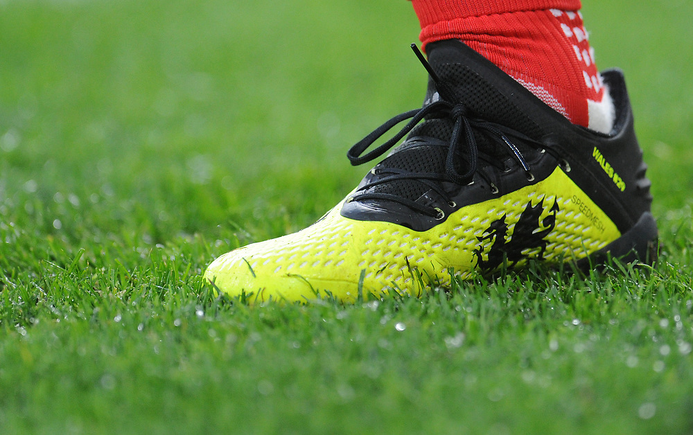 Wales' Gareth Bale boots<br /> <br /> Photographer Kevin Barnes/CameraSport<br /> <br /> UEFA Nations League - Group Stage - League B - Group 4 - Wales v Republic of Ireland - Thursday September 6th 2018 - Cardiff City Stadium - Cardiff<br /> <br /> World Copyright © 2018 CameraSport. All rights reserved. 43 Linden Ave. Countesthorpe. Leicester. England. LE8 5PG - Tel: +44 (0) 116 277 4147 - admin@camerasport.com - www.camerasport.com