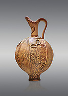 Minoan decorated ritual ewer with a sacral knot relief , Konssos-Little Palace 1450-1370 BC; Heraklion Archaeological  Museum, grey background .<br /> <br /> If you prefer to buy from our ALAMY PHOTO LIBRARY  Collection visit : https://www.alamy.com/portfolio/paul-williams-funkystock/minoan-art-artefacts.html . Type -   Heraklion   - into the LOWER SEARCH WITHIN GALLERY box. Refine search by adding background colour, place, museum etc<br /> <br /> Visit our MINOAN ART PHOTO COLLECTIONS for more photos to download  as wall art prints https://funkystock.photoshelter.com/gallery-collection/Ancient-Minoans-Art-Artefacts-Antiquities-Historic-Places-Pictures-Images-of/C0000ricT2SU_M9w