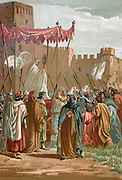 "Encounter of Petrarch and Guy de Chauliac outside the castle of the Popes in Avignon. Francesco Petrarca (July 20, 1304 - July 19, 1374), commonly anglicized as Petrarch, was an Italian scholar and poet in Renaissance Italy, and one of the earliest humanists. He is often called the ""Father of Humanism"". His sonnets were admired and imitated throughout Europe during the Renaissance and became a model for lyrical poetry. He traveled widely in Europe and served as an ambassador and has been called ""the first tourist"" because he traveled just for pleasure. Guy de Chauliac (1300 - July 25, 1368), was a French physician and surgeon. In 1342 he was invited to the Papal Court in Avignon, France, to serve as a personal physician to Pope Clement VI. While serving at Avignon, Guy made the acquaintance of Petrarch. Chauliac's seminal work on surgery, Chirurgia magna, was finished in 1363. La ciencia y sus hombres : vidas de los sabios ilustres desde la antigüedad hasta el siglo XIX T. 1 [Science and it's people Vol 1] by Luis Figuier ; traducción de la tercera edición francesa por Pelegrin Casabó y Pagés ; ilustrada por Armet, Gomez, Martí y Alsina, Planella, Puiggarí, Serra,  Printed in Barcelona in 1879"