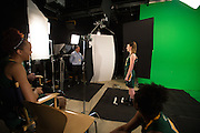 April 2, 2016; Indianapolis, Ind.; Jessica Madison reads lines during their green screen session at the NCAA Headquarters.