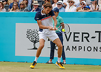 Tennis - 2019 Queen's Club Fever-Tree Championships - Day Six, Saturday<br /> <br /> Men's Singles, Semi Final: Daniil Medvedev (RUS) Vs. Gilles Simon (FRA) <br /> <br /> Daniil Medvedev (RUS) with backhand return on Centre Court.<br />  <br /> COLORSPORT/DANIEL BEARHAM