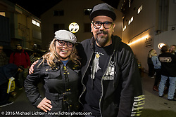 Photographer Ed Subias with motorcycle industry emcee Jaqui VanHam at the Monday night afterparty at Mooneyes Area One after the Mooneyes Yokohama Hot Rod & Custom Show. Yokohama, Japan. December 5, 2016.  Photography ©2016 Michael Lichter.